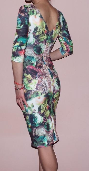 Rochie de zi din jerse cu imprimeu - R262 Multicolor 3 2