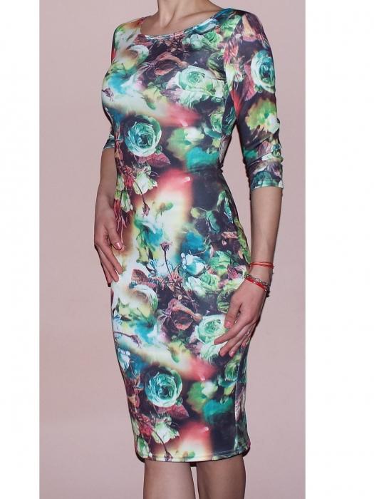 Rochie de zi din jerse cu imprimeu - R262 Multicolor 3 0