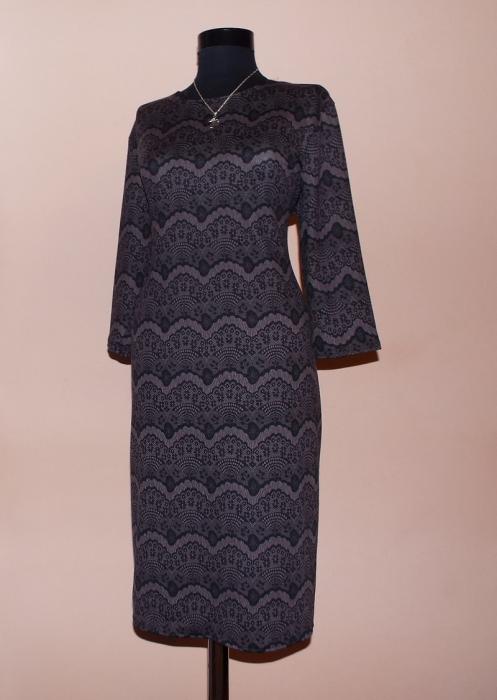 Rochie de zi din jerse cu imprimeu si maneca trei sferturi - Lavinia [0]
