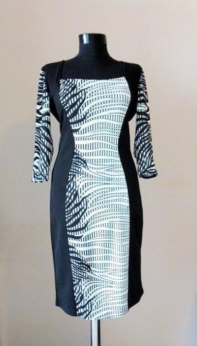 Rochie de zi din jerse cu maneca trei sferturi - Anais 1