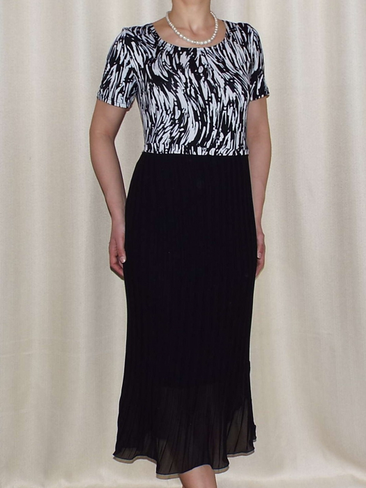 Rochie de zi din jerse imprimat si voal plisat - Fiona 0