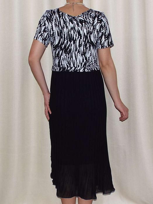 Rochie de zi din jerse imprimat si voal plisat - Fiona 1