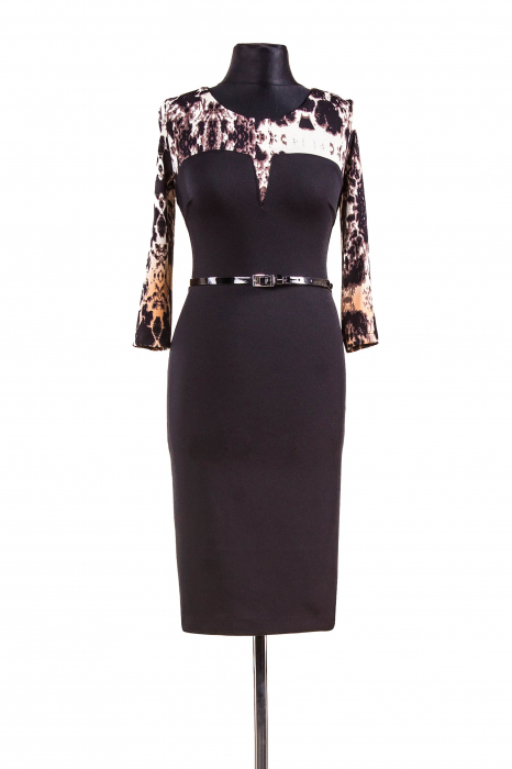 Rochie de zi din lacoste negru cu animal print - Vanda 0