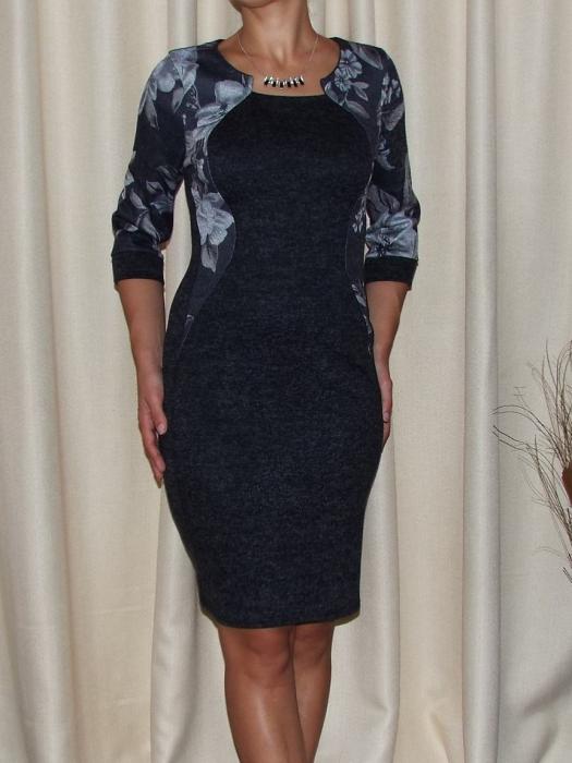 Rochie de zi din tricot cu maneca trei sferturi - Lorena Gri Inchis [0]
