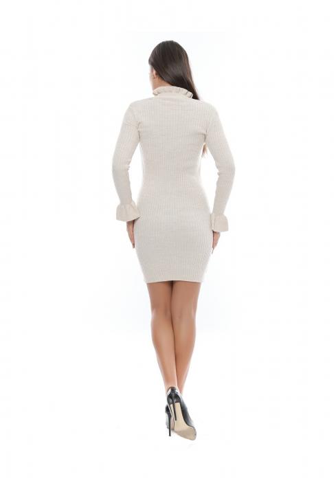 Rochie de zi din tricot cu volan si guler inalt - Rtricot4 1