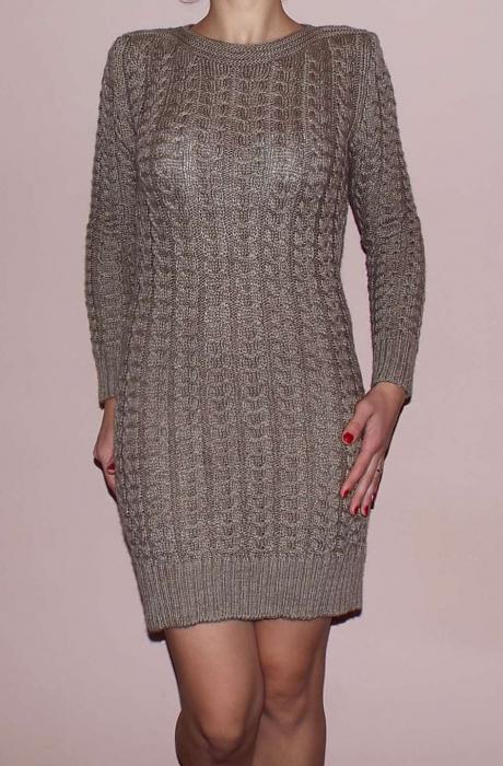 Rochie de zi din tricot gros cu maneca lunga - R2012 0