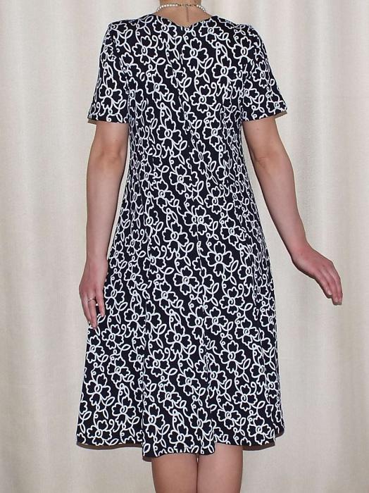 Rochie de zi din vascoza cu maneca scurta - Vera Negru 1