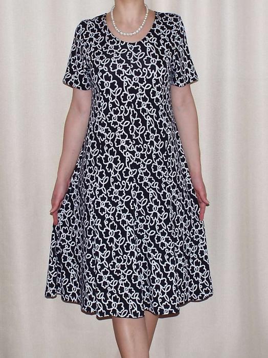 Rochie de zi din vascoza cu maneca scurta - Vera Negru 0