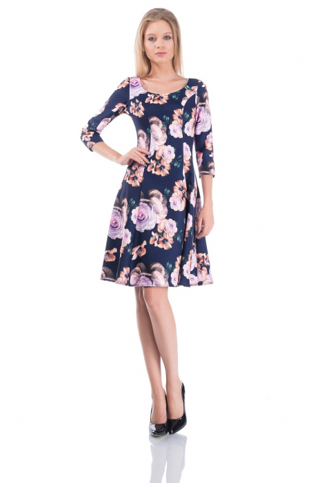 Rochie de zi in clos cu imprimeu floral - Cali [0]