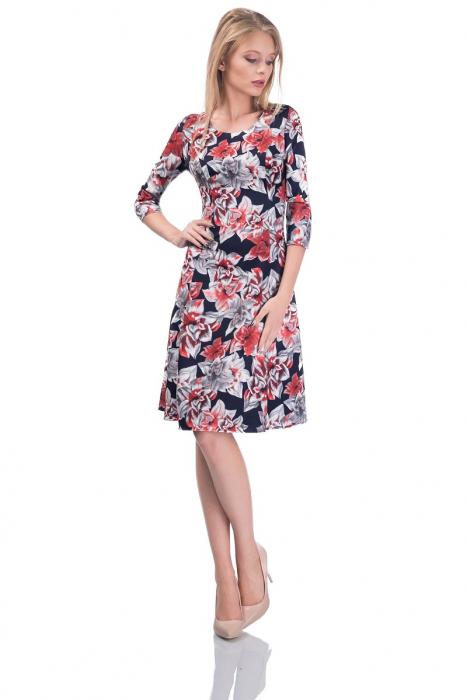 Rochie de zi in clos cu imprimeu floral - Cali2 0