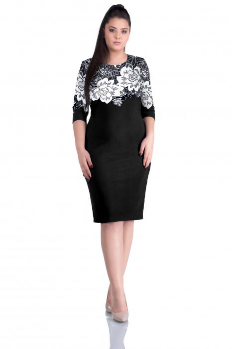 Rochie de zi neagra cu imprimeu floral si maneca trei sferturi - Flavia 0