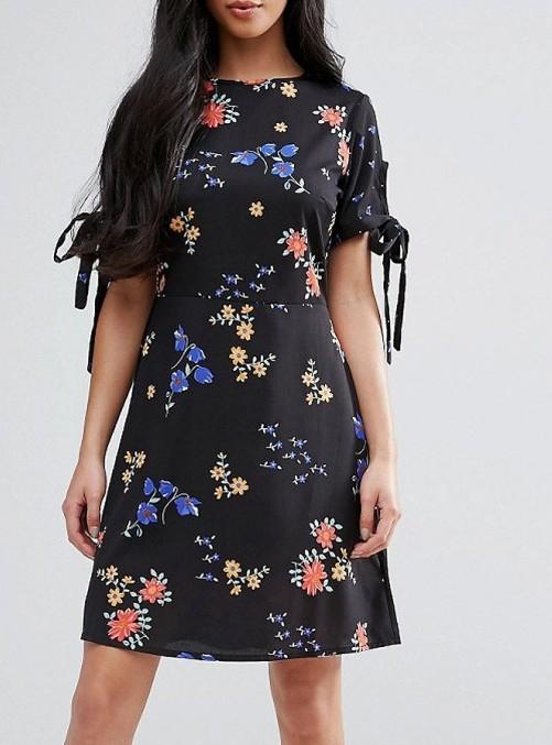 Rochie de zi neagra cu imprimeu si croi lejer - Tess 0