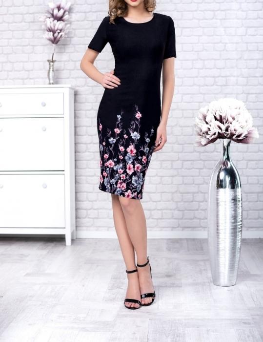 Rochie de zi neagra cu imprimeu si maneca scurta - Gabriela Floral [0]