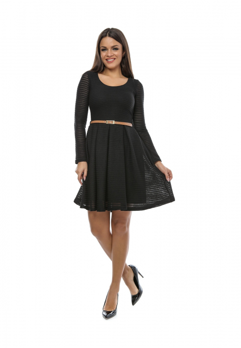Rochie de zi neagra cu maneca lunga si curea detasabila - R235N [0]