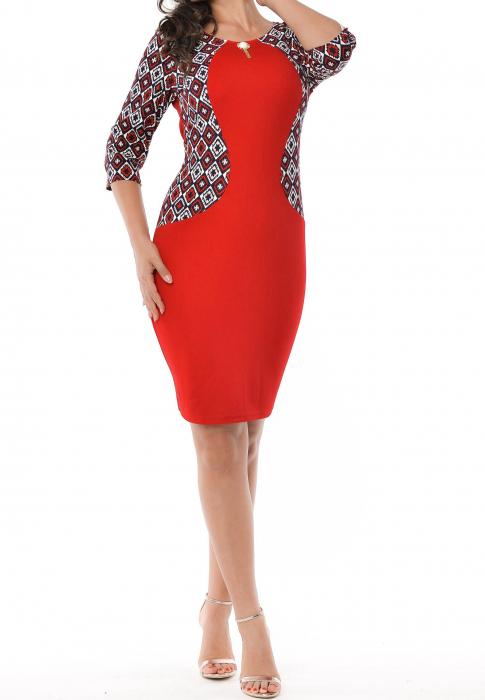 Rochie de zi rosie cu imprimeu si maneca trei sferturi - Eliana 0