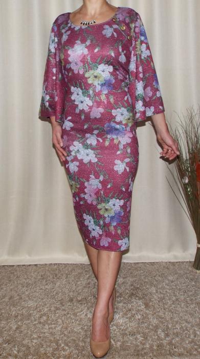 Rochie de zi tricotata cu imprimeu floral - Carla Grena [1]