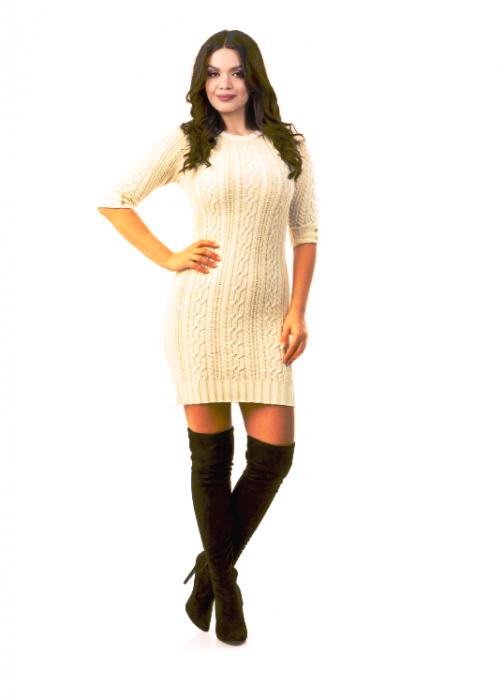 Rochie de zi tricotata cu maneca trei sferturi - R2002 Crem 0