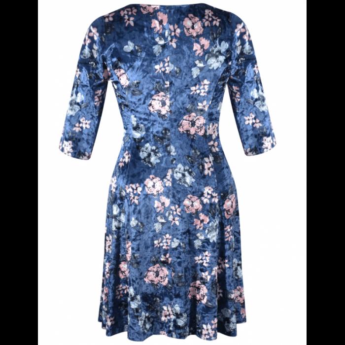 Rochie din catifea cu imprimeu si colier - Dalia Bleumarin 3