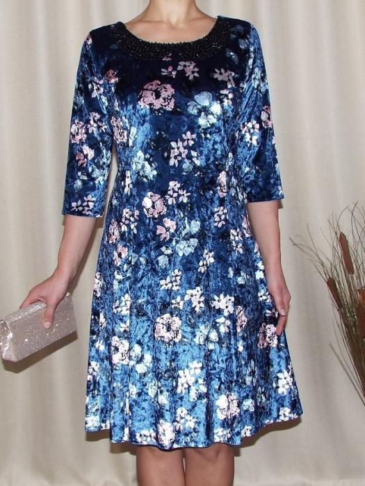 Rochie din catifea cu imprimeu si colier - Dalia Bleumarin 0
