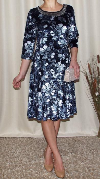 Rochie din catifea cu imprimeu si maneca trei sferturi - Dalia Floral 0