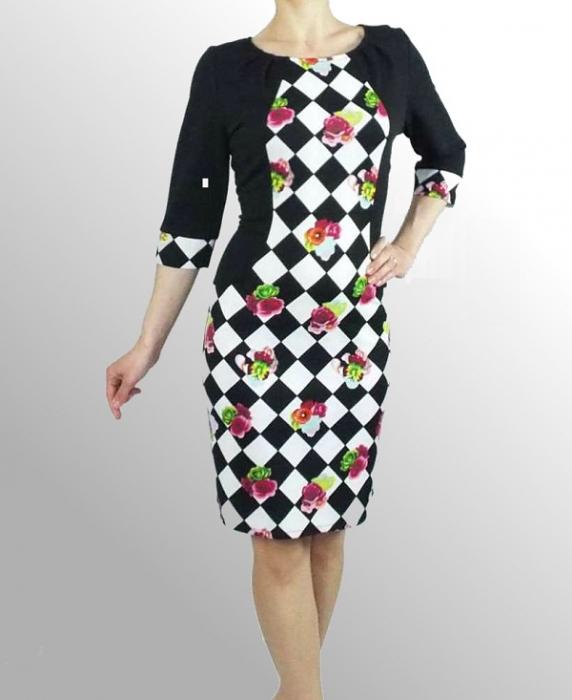 Rochie din lacoste cu imprimeu si maneca trei sferturi - Madelaine 0