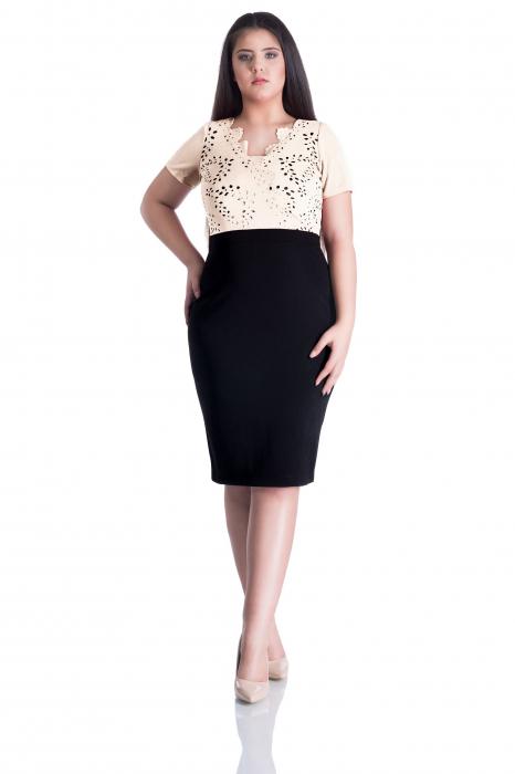 Rochie din lacoste perforat si maneca scurta - Patricia 0