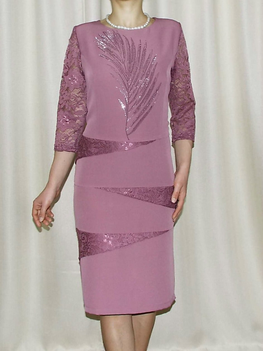 Rochie din stofa cu maneca trei sferturi - Maria Lila 0