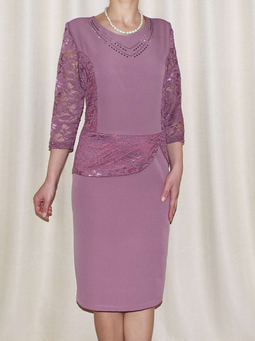 Rochie din stofa cu peplum din dantela - Felicia Mov Lila 0