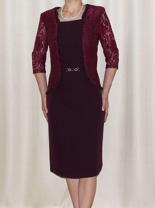 Rochie din stofa si dantela cu accesoriu in talie - Anabela Bordo 0