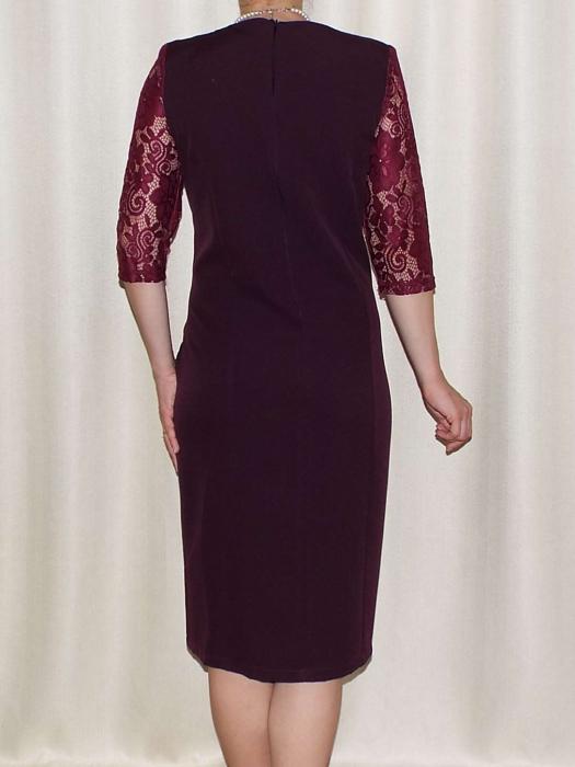 Rochie din stofa si dantela cu accesoriu in talie - Anabela Bordo [1]