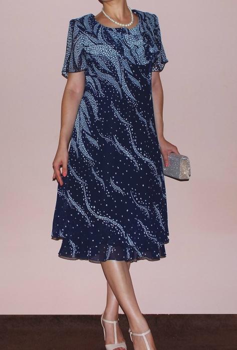 Rochie din voal bleumarin cu imprimeu gri - Eliana 0