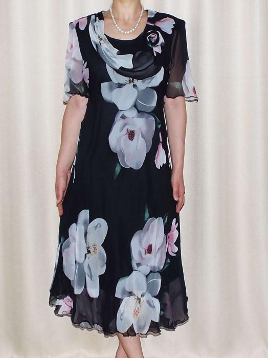 Rochie din voal cu imprimeu floral maxi si brosa - Victoria 1 0