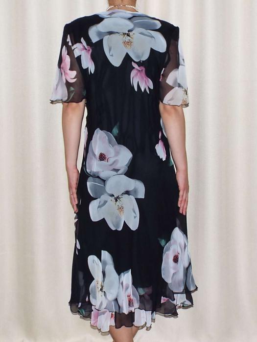 Rochie din voal cu imprimeu floral maxi si brosa - Victoria 1 1