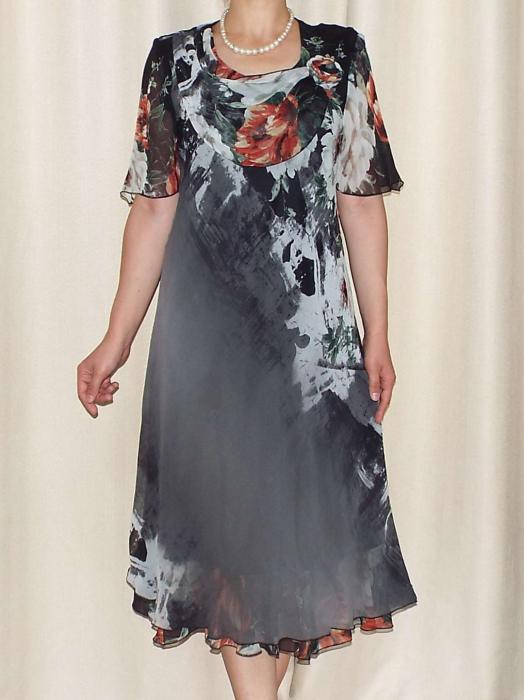 Rochie din voal cu imprimeu floral si brosa - Victoria 7 [0]