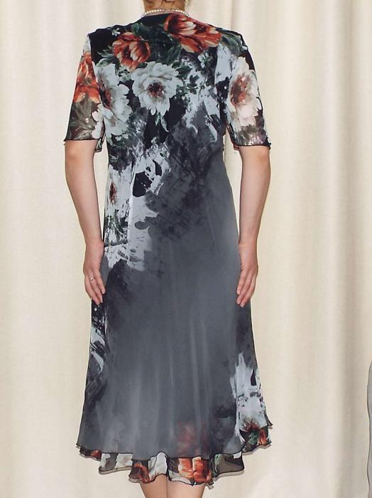 Rochie din voal cu imprimeu floral si brosa - Victoria 7 [1]