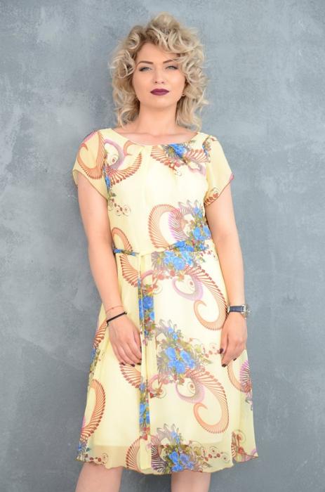 Rochie din voal cu imprimeu floral si cordon in talie - Clara Galben [0]