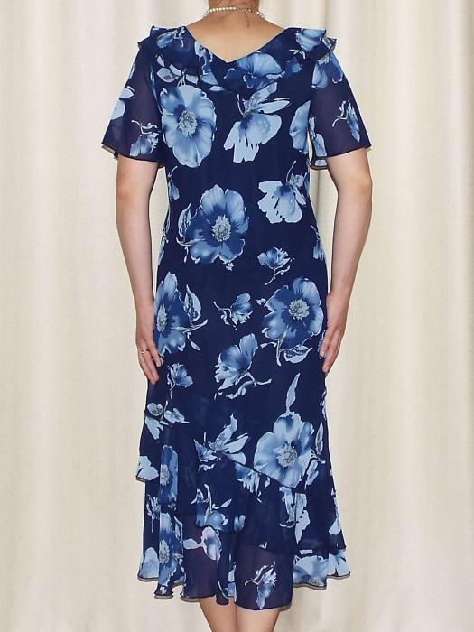 Rochie din voal cu imprimeu floral si maneca scurta - Verona Bleumarin [2]