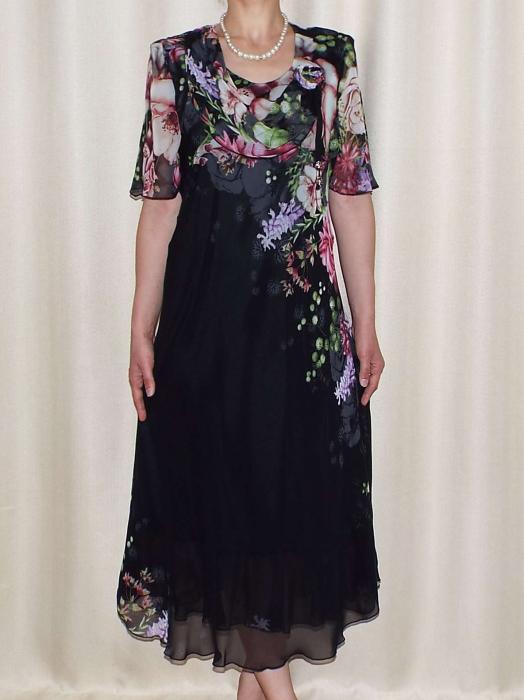 Rochie din voal cu imprimeu si maneca scurta - Victoria Negru 0