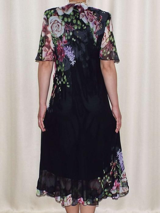 Rochie din voal cu imprimeu si maneca scurta - Victoria Negru 1