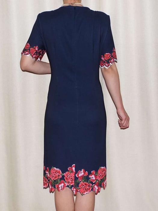 Rochie eleganta bleumarin cu imprimeu floral - Luminita 1