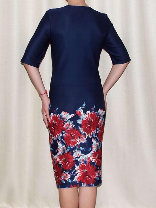 Rochie eleganta bleumarin cu imprimeu floral - Melania Grena 1