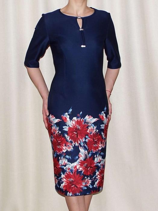 Rochie eleganta bleumarin cu imprimeu floral - Melania Grena 0
