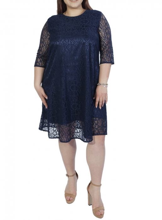 Rochie eleganta bleumarin din dantela cu croi lejer - Amy 0