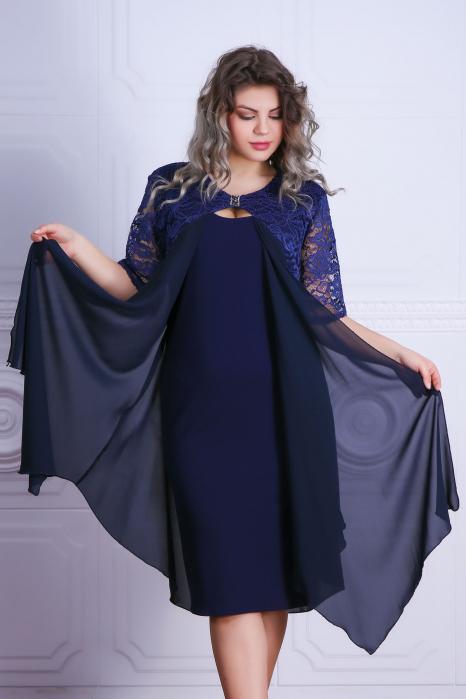 Rochie eleganta bleumarin din voal si dantela - Samira 0