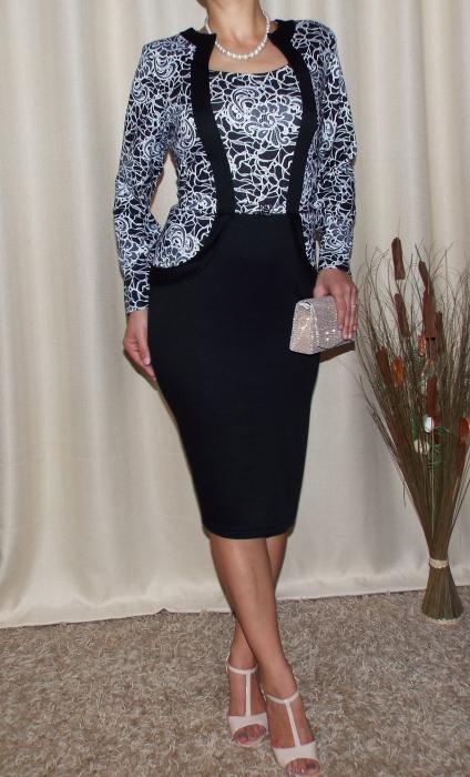 Rochie eleganta cu accesoriu in talie si imprimeu - Luciana Floral 0