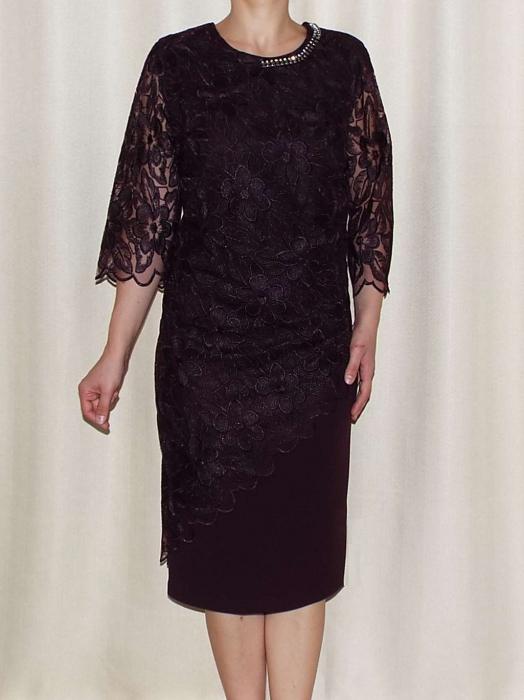 Rochie eleganta cu accesoriu la baza gatului - Catalina Mov Pruna 0