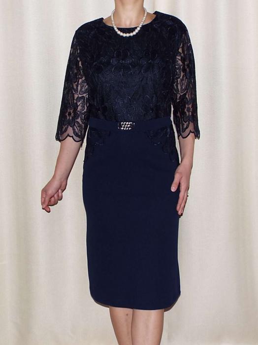 Rochie eleganta cu accesoriu si maneca trei sferturi - Narcisa Bleumarin 0