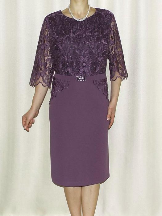 Rochie eleganta cu accesoriu si maneca trei sferturi - Narcisa MOV 0