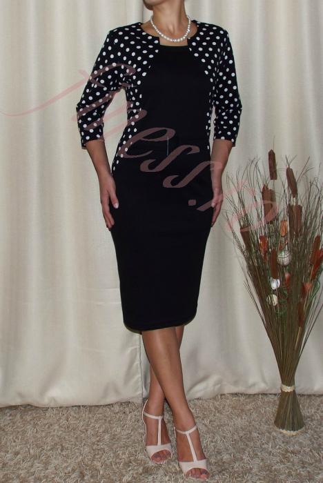 Rochie eleganta cu buline si accesoriu in talie -Felicia Negru [0]