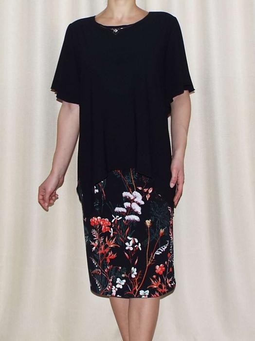 Rochie eleganta cu imprimeu si accesoriu - Medeea Negru 0